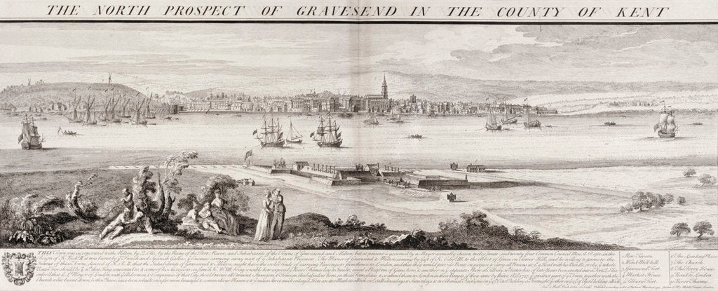 Detail of The north prospect of Gravesend in the county of Kent by Samuel & Nathaniel Buck