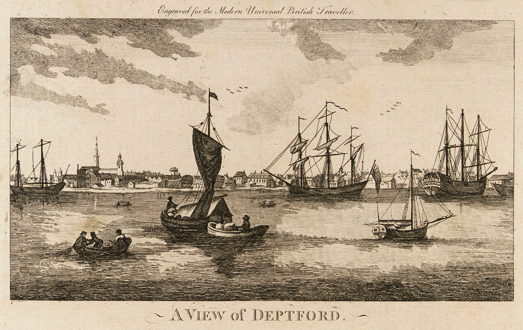Detail of A View of Deptford. Engraved for the Modern Universal British Traveller by unknown