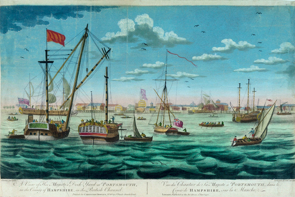 Detail of A view of His Majesty's dockyYard at Portsmouth, in the county of Hampshire, on the British Channel by John Cleveley