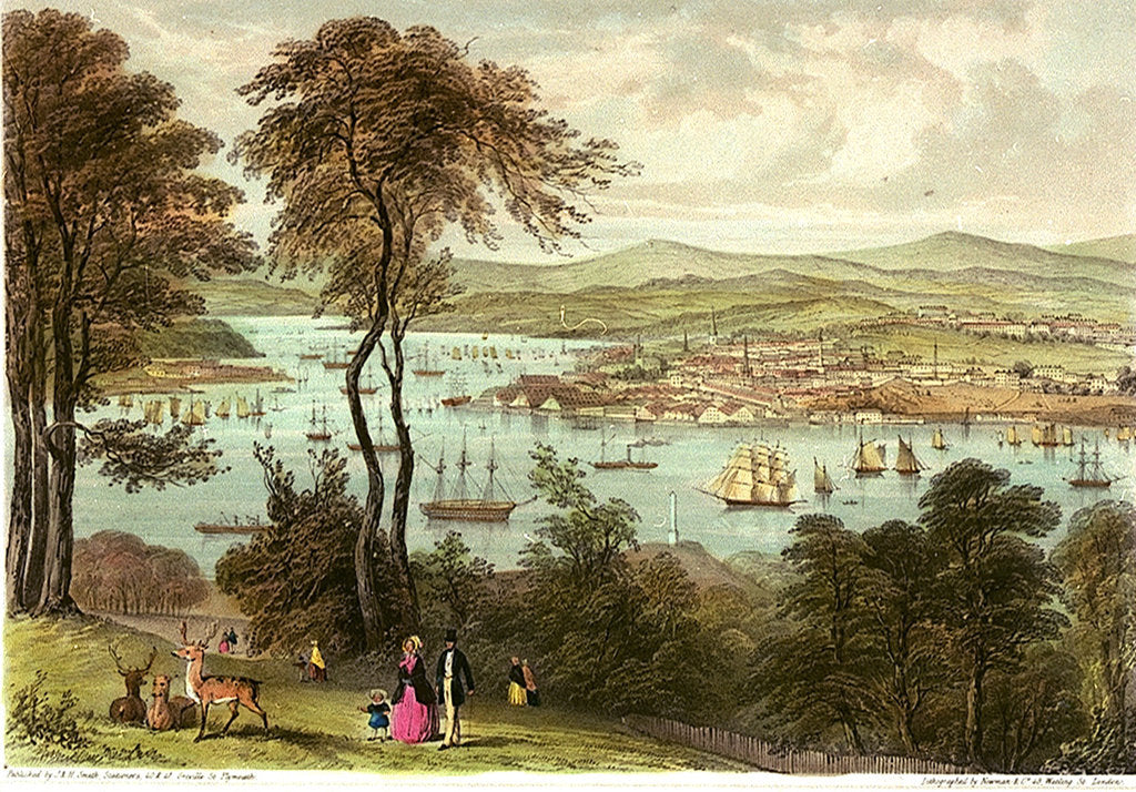 Detail of Devonport & the Hamoaze from Mount Edgecumbe. Six Views of the Picturesque Scenery of Plymouth by Newman & Co