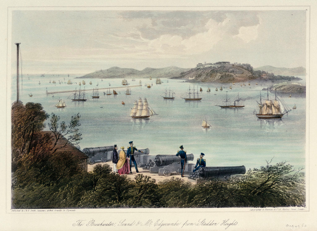 Detail of The Breakwater, Sound & Mt Edgecumbe from Staddon Heights (Plymouth). Six Views of the Picturesque Scenery of Plymouth' by Newman & Co