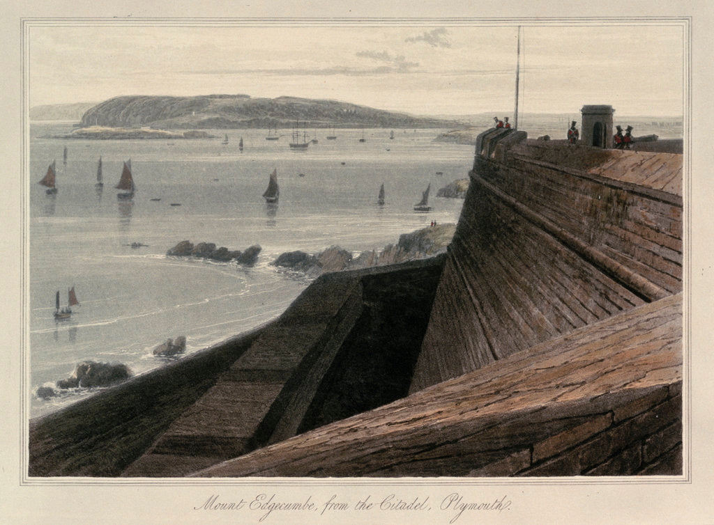 Detail of Mount Edgecumbe, from the Citadel, Plymouth by William Daniell