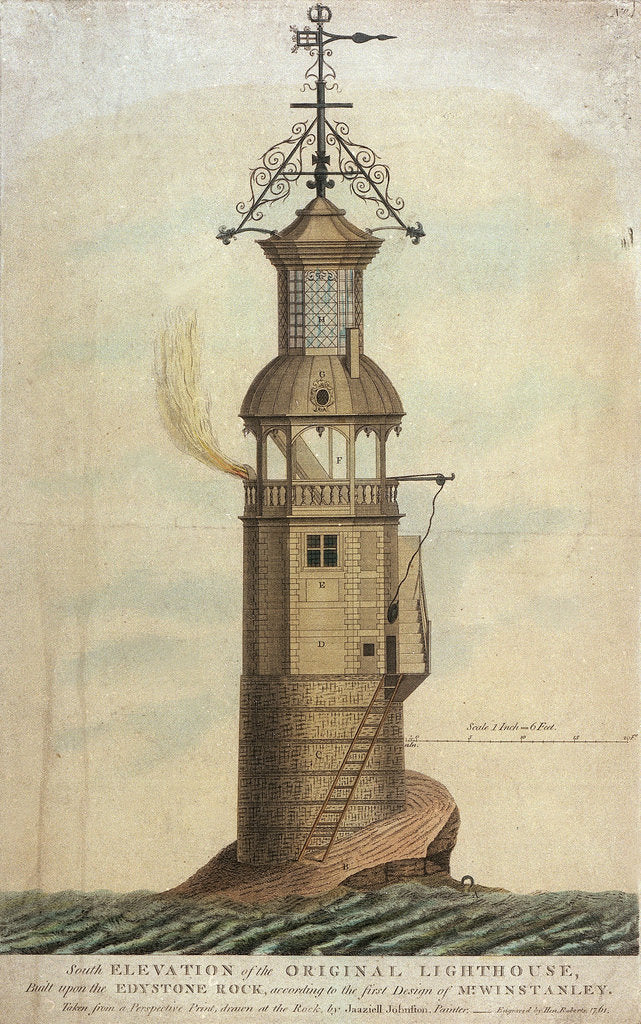 Detail of South Elevation of the Original Lighthouse, Built upon the Edystone Rock, according to the first Design of Mr Winstanley' by Jaaziell Johnston