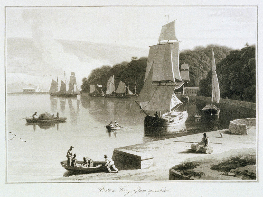 Detail of Britton Ferry, Glamorganshire by William Daniell