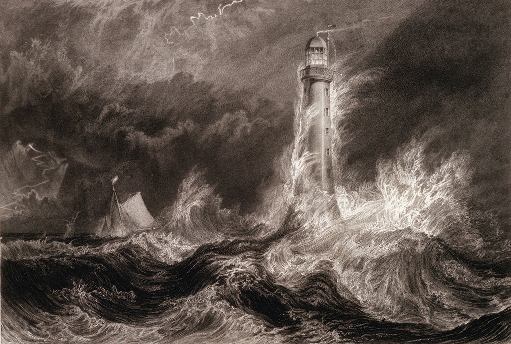 Detail of Bell Rock light house during a storm from the North East by Joseph Mallord William Turner