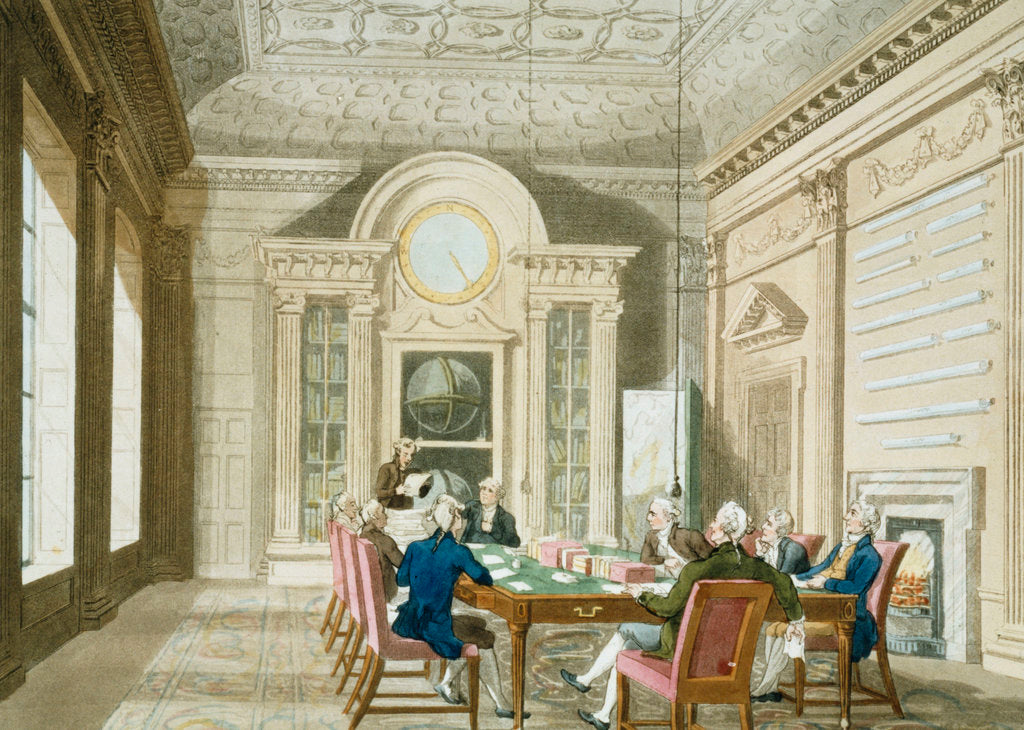 Detail of Board room of the Admiralty by Thomas Rowlandson