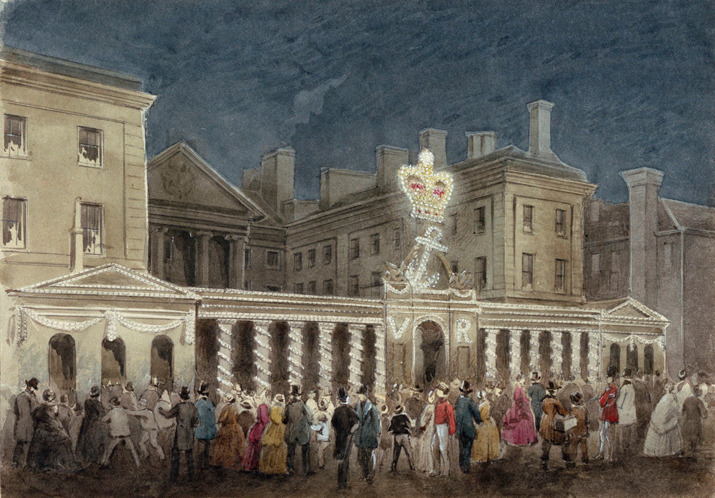 Detail of The Illumination at the Admiralty to celebrate the peace after the Crimean War by unknown