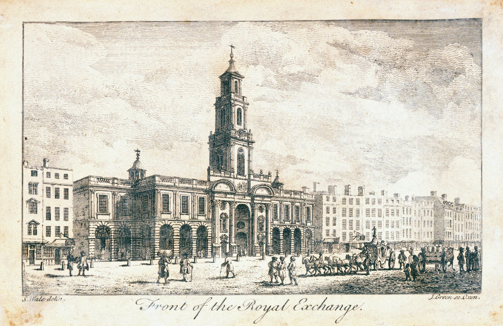 Detail of Frontal view of The Royal Exchange by Samuel Wale