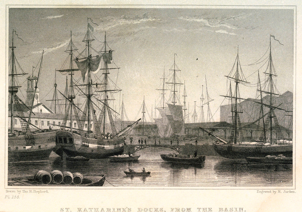 Detail of St Katharine's Docks, from the Basin by H. Jorden