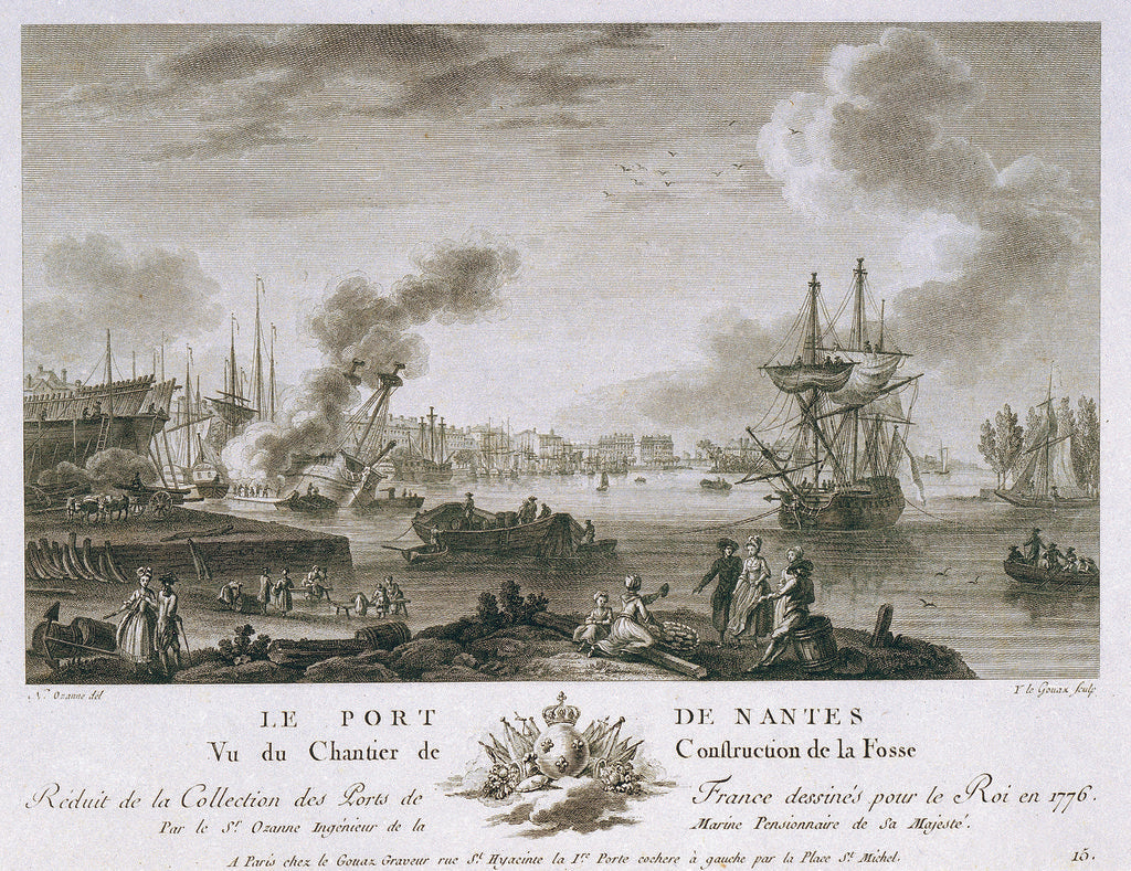 Detail of The harbour of Nantes by Nicolas Marie Ozanne