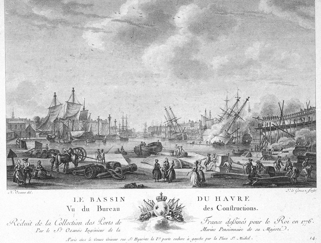Detail of The port basin of Le Havre by Nicolas Marie Ozanne