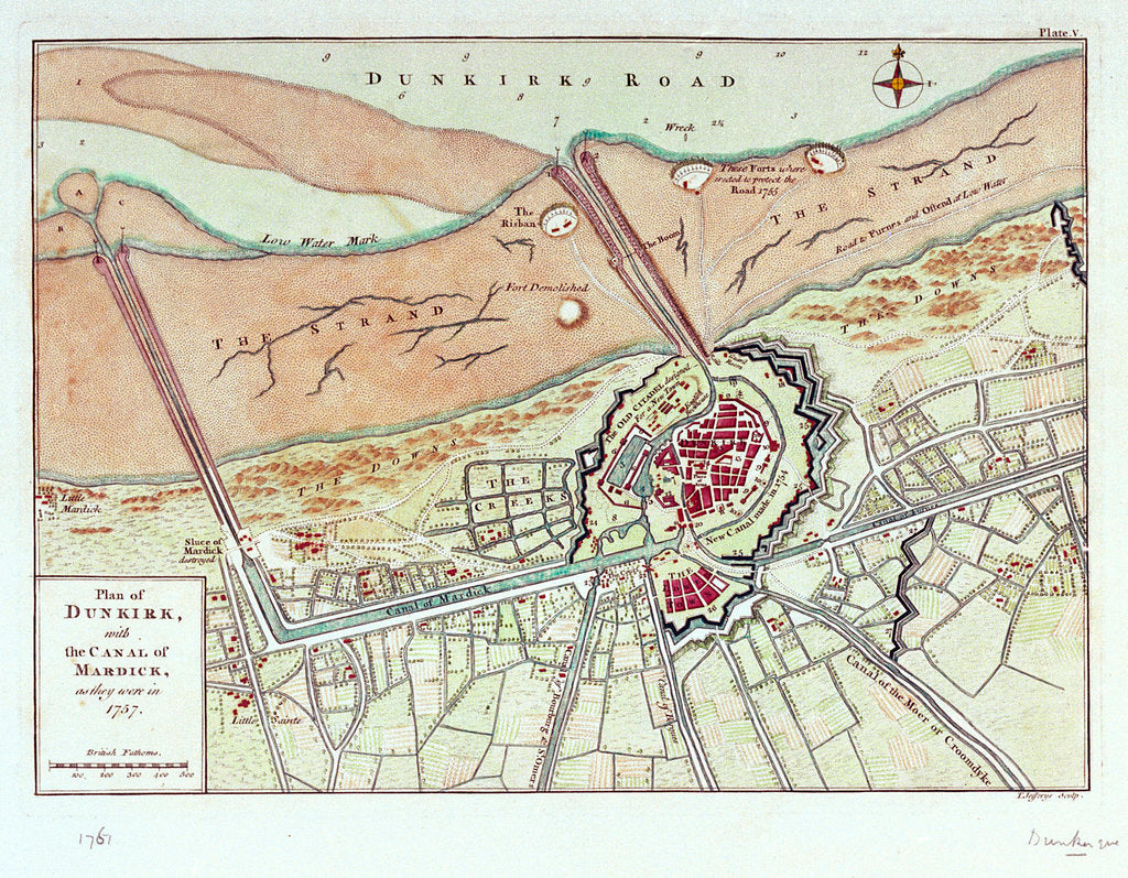 Detail of Plan of Dunkirk with the canal of Mardick, as they were in 1757 by T. Jefferys