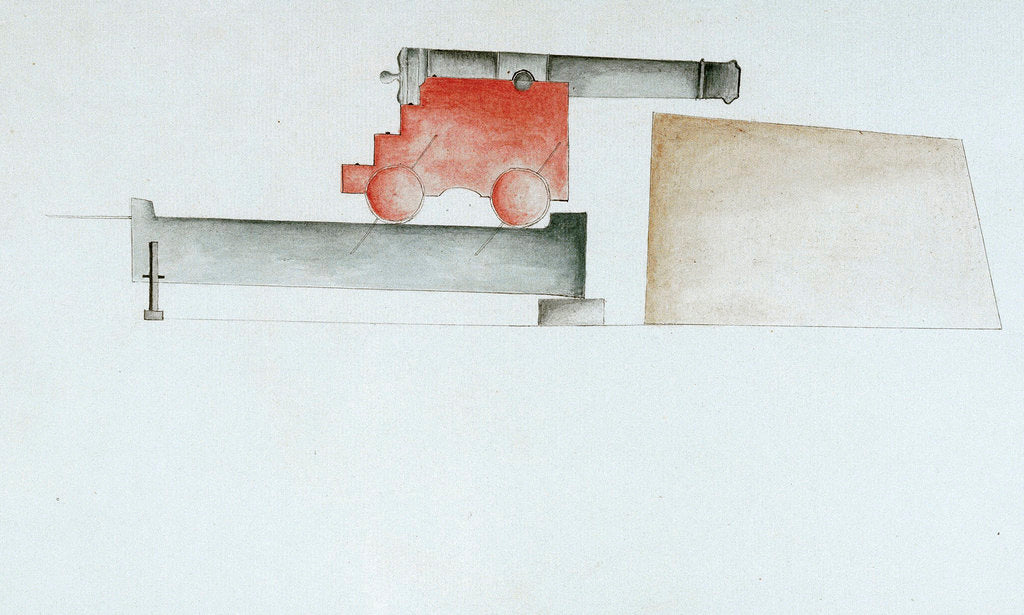 Detail of A cannon at Mortella Tower. Third illustration in Plan of Mortella Tower, St Fiorenzo Bay. Corsica, 1794 by DCF