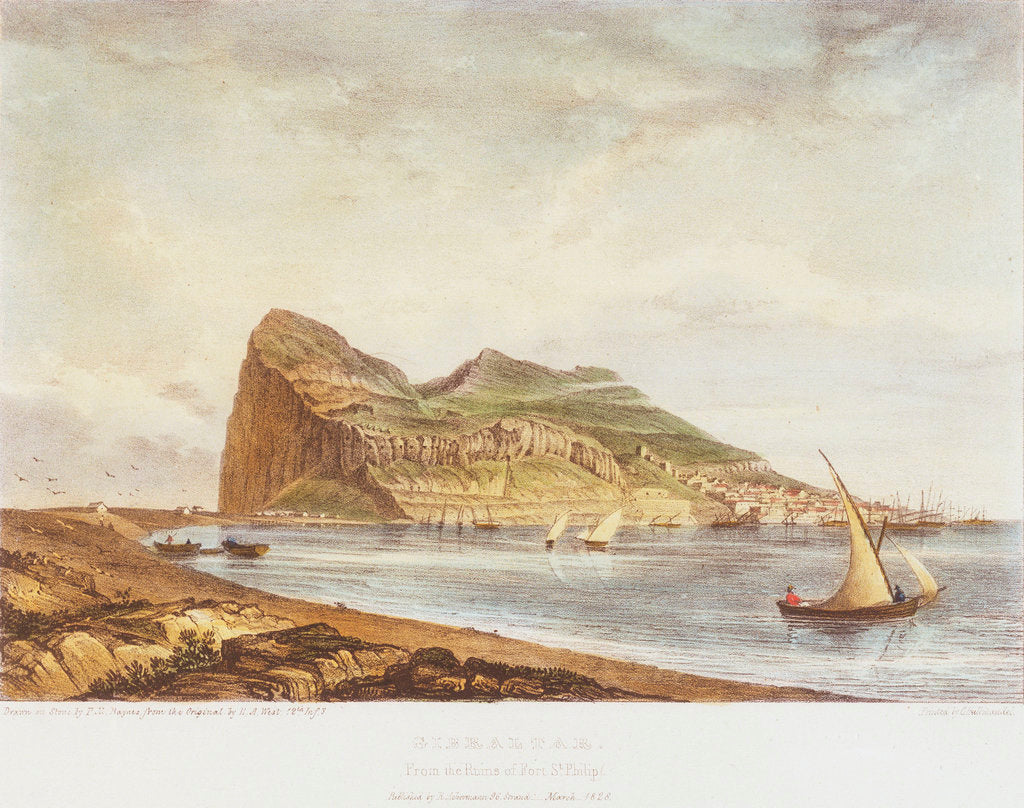 Detail of Gibraltar. From the ruins of Fort St Philip by H. A. West