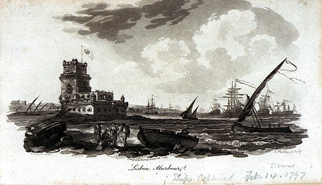 Detail of Lisbon Harbour [with the Tower of Belem] by Nicholas Pocock