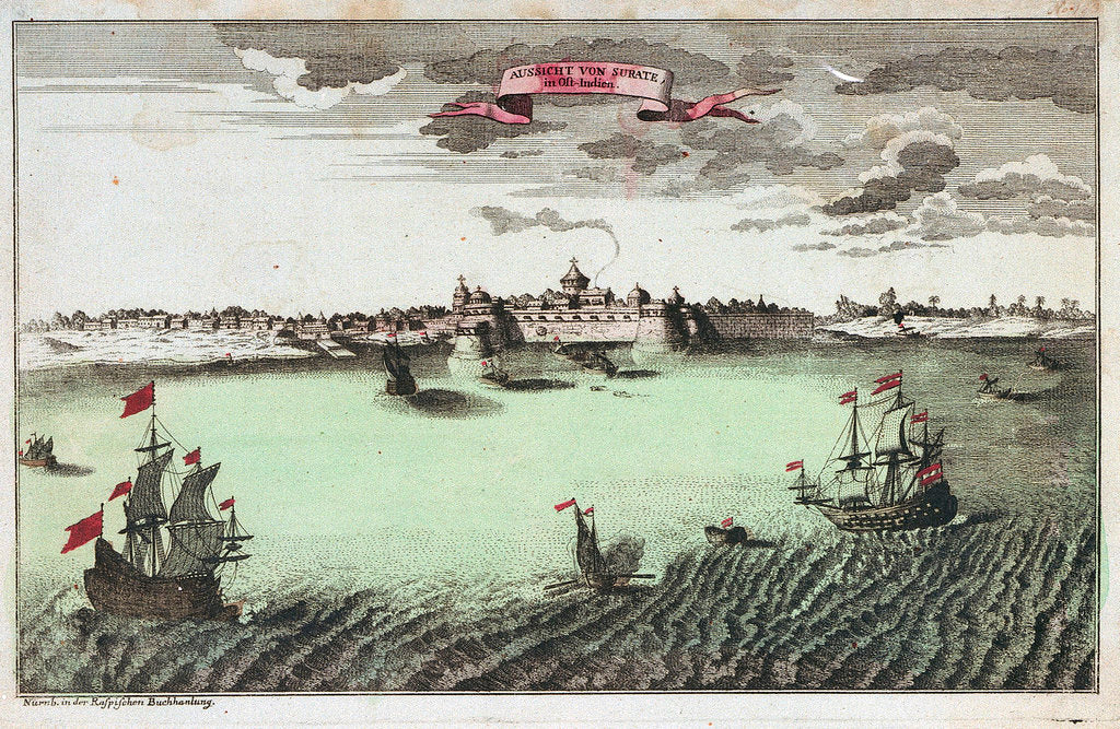 Detail of View of Surat, East India by Raspischen