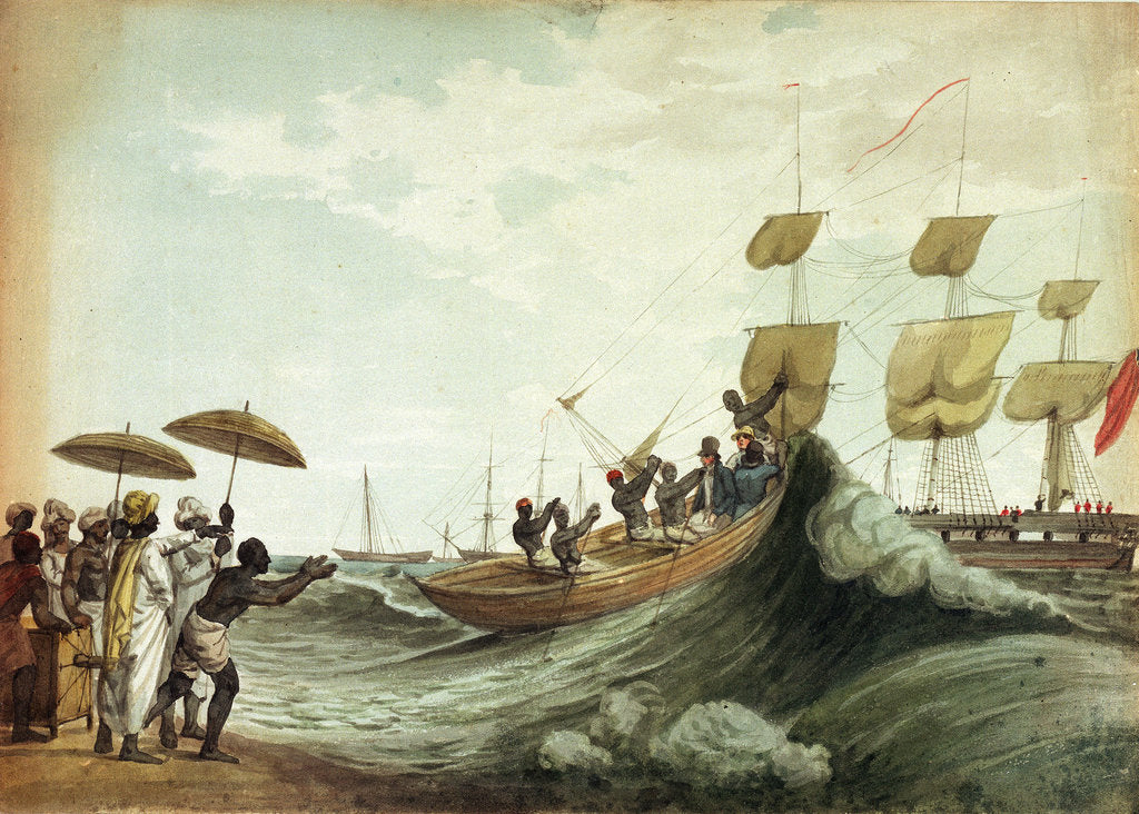 Detail of Ship's boat arriving on beach, Madras by unknown