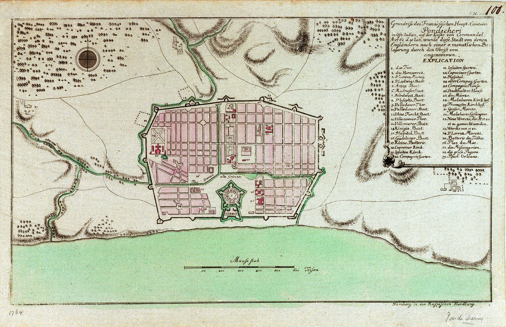 Detail of Plan of Pondicheri by unknown