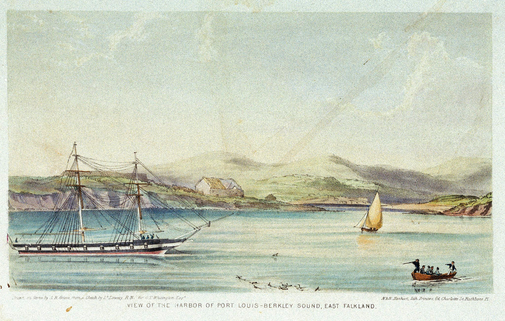Detail of View of the Harbor of Port Louis - Berkley Sound, East Falkland by Lowcay