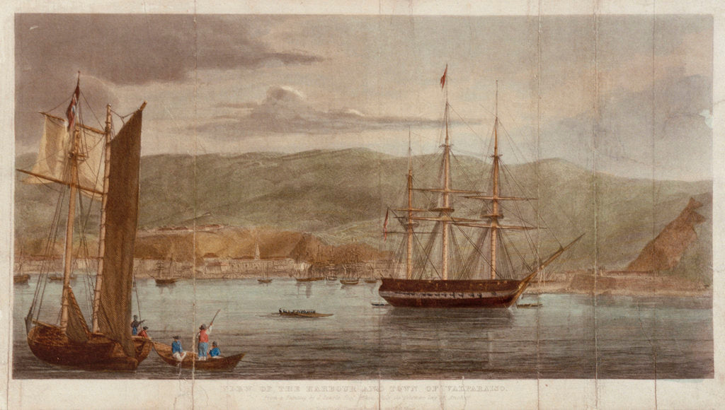 Detail of View of the harbour and town of Valparaiso by J. Searle