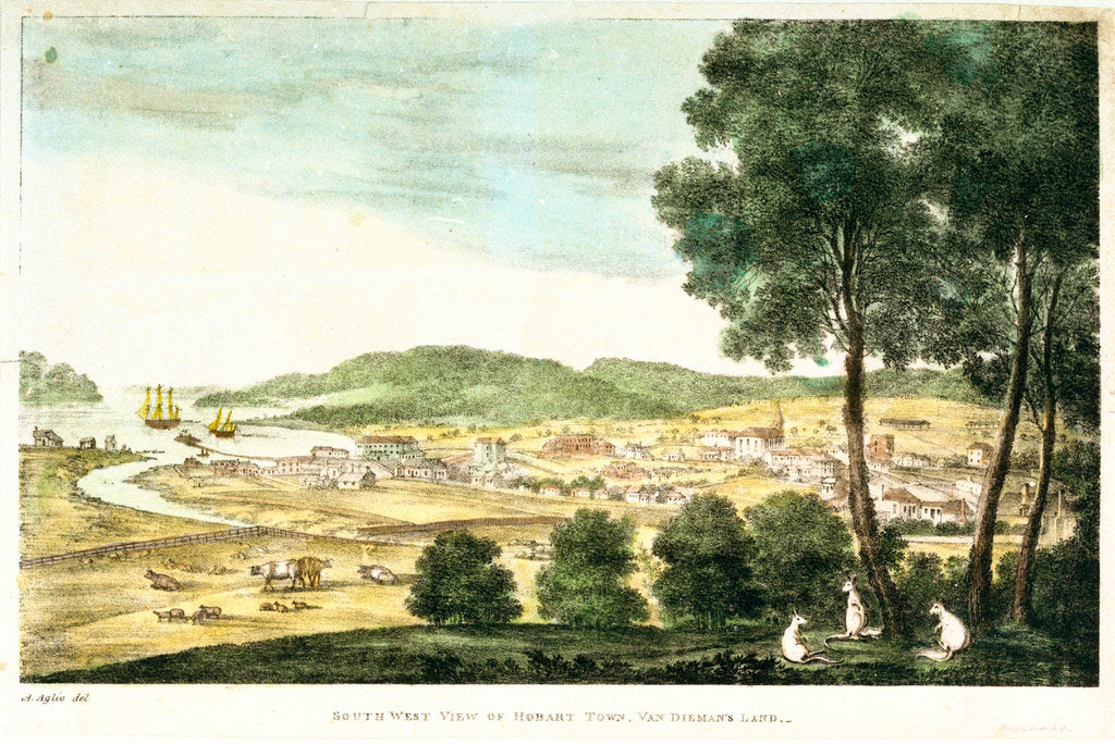 Detail of South west view of Hobart Town, Van Dieman's Land by A. Aglio