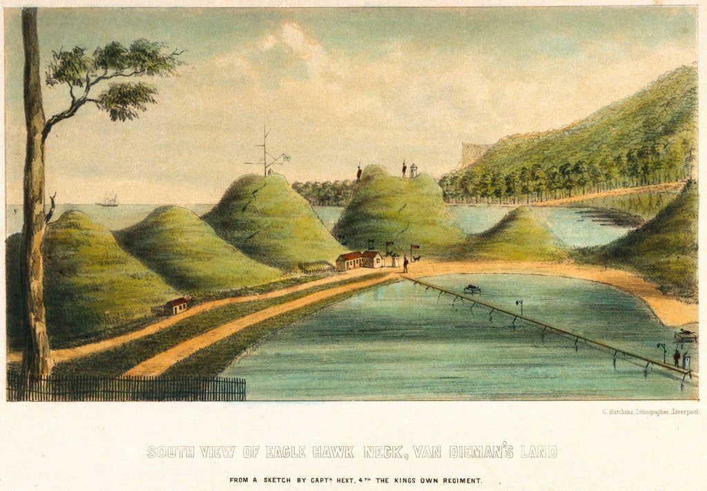 Detail of South view of Eagle Hawk Neck, Van Dieman's Land by Hext