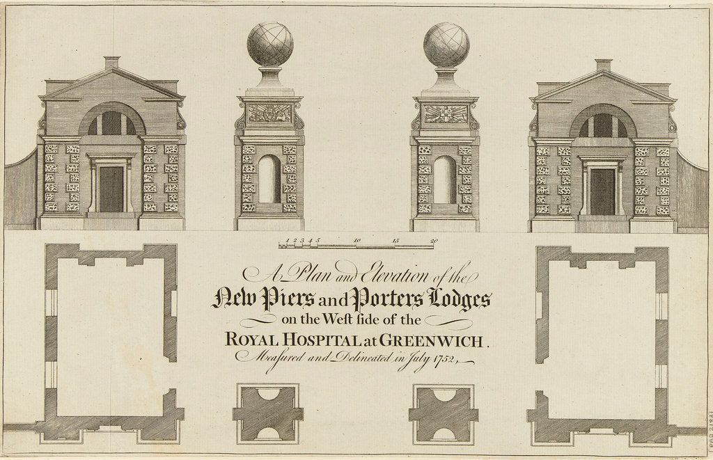 Detail of A Plan and Elevation of the New Piers and Porters Lodge on the West side of the Royal Hospital at Greenwich. Measured and Delineated in July 1752 by James Basire