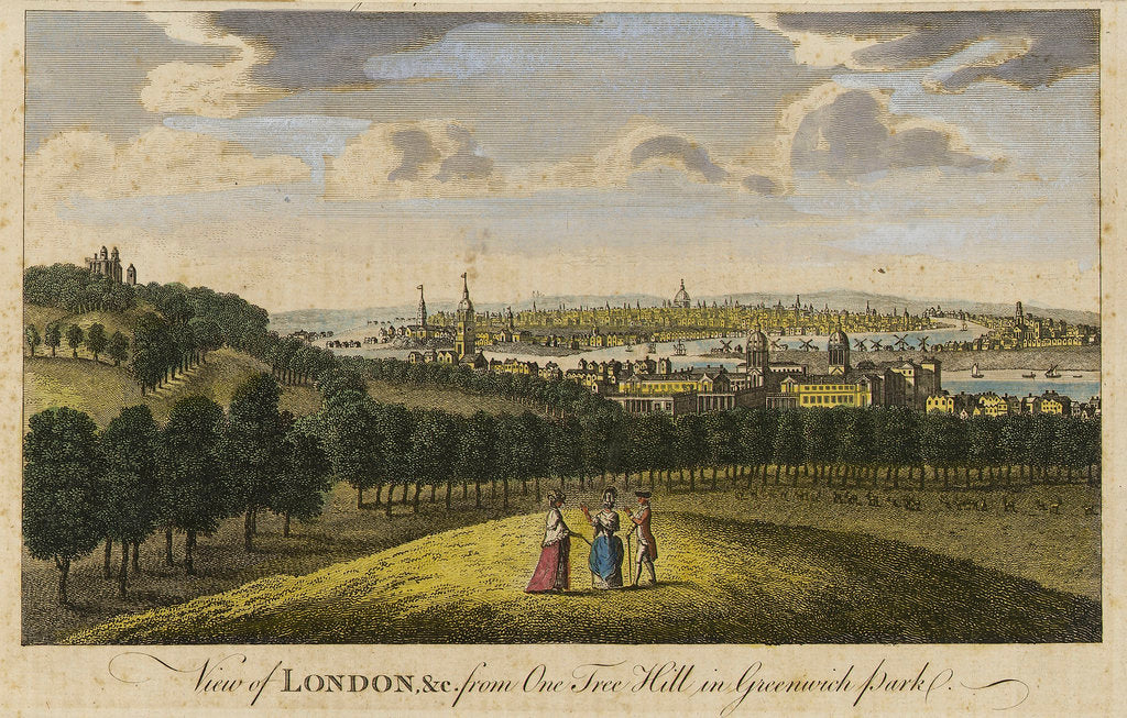 Detail of View of London, &c. from One Tree Hill in Greenwich Park by Pieter Tillemans