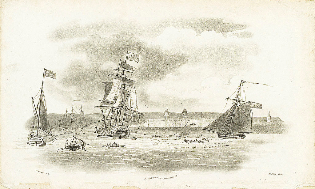Detail of Greenwich Hospital in the distance, with the 'Augusta', royal yacht, 5 April 1795 by Nicholas Pocock