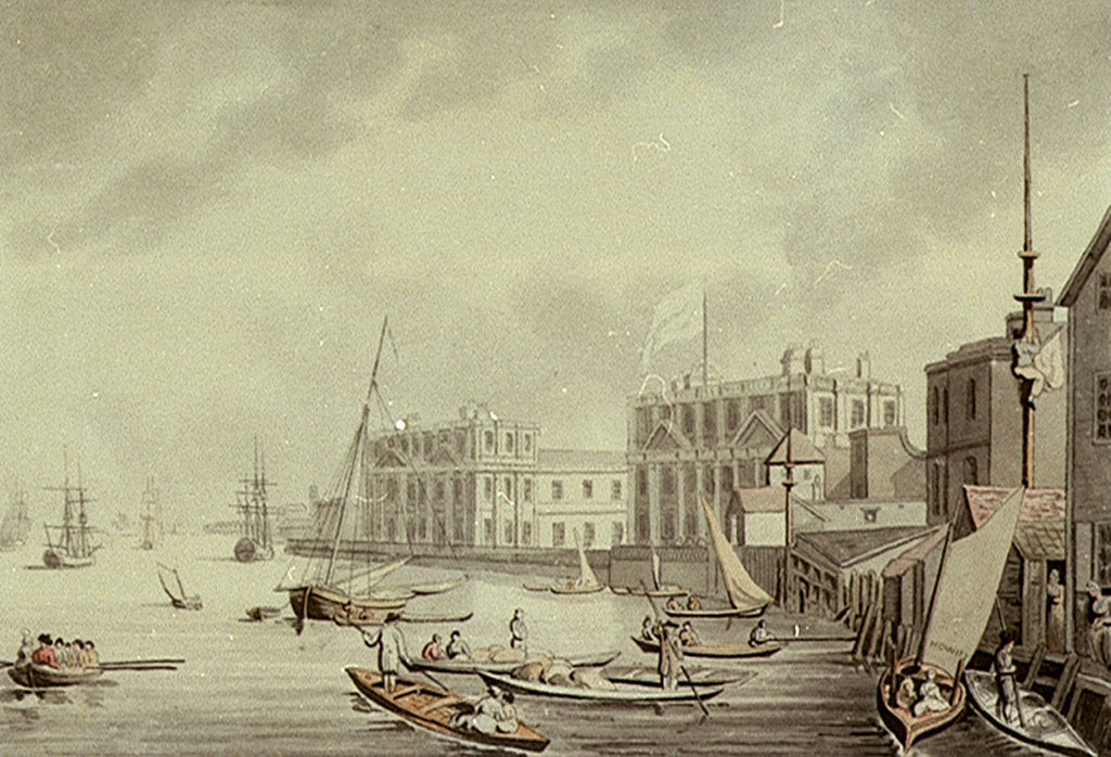 Detail of Greenwich Hospital from the NW, and boating on the River Thames by Samuel Howitt