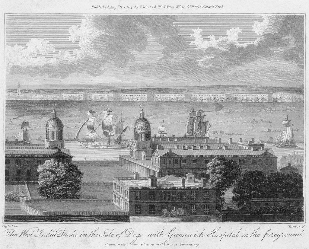 Detail of The West India Docks in the Isle of Dogs, with Greenwich Hospital in the foreground. Drawn in the Camera Obscura of the Observatory. by Pugh