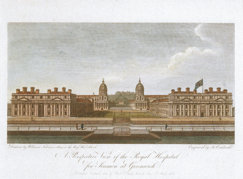 Detail of View of the Royal Hospital for Seamen at Greenwich by William Fabian