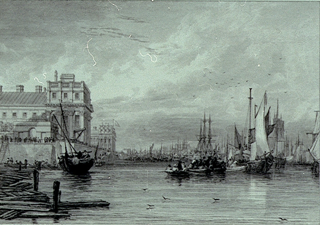 Detail of Greenwich (Greenwich Hospital and River Thames) by Augustus Wall Callcott