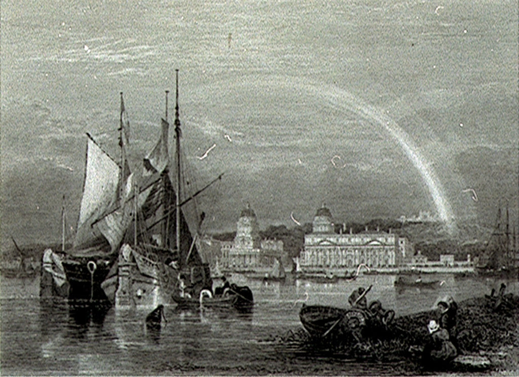 Detail of Greenwich Hospital, 1828 for George Cooke's 'Views in London and its Vicinity' by Clarkson Stanfield