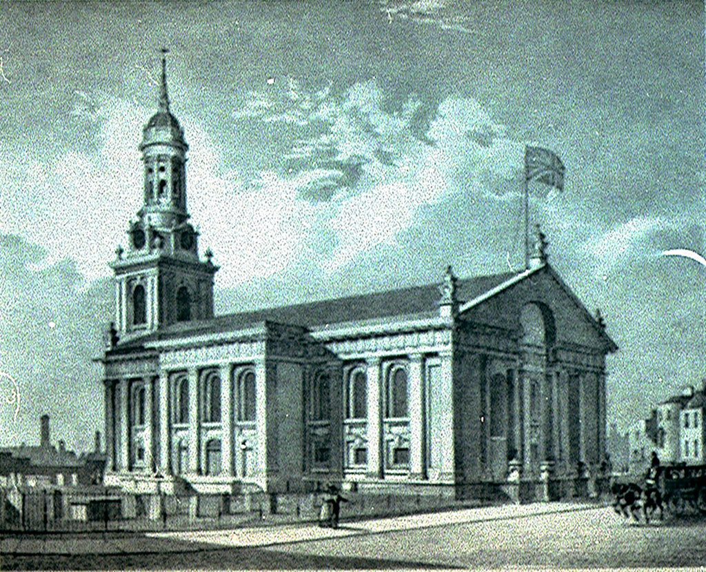 Detail of S.E. View of St. Alphege Church, Greenwich by R. H. Best