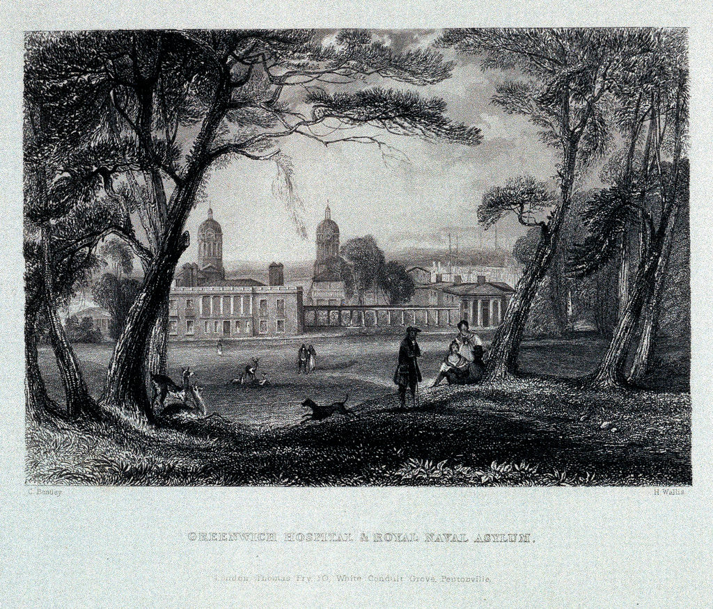 Detail of Greenwich Hospital & Royal Naval Asylum by Charles Bentley