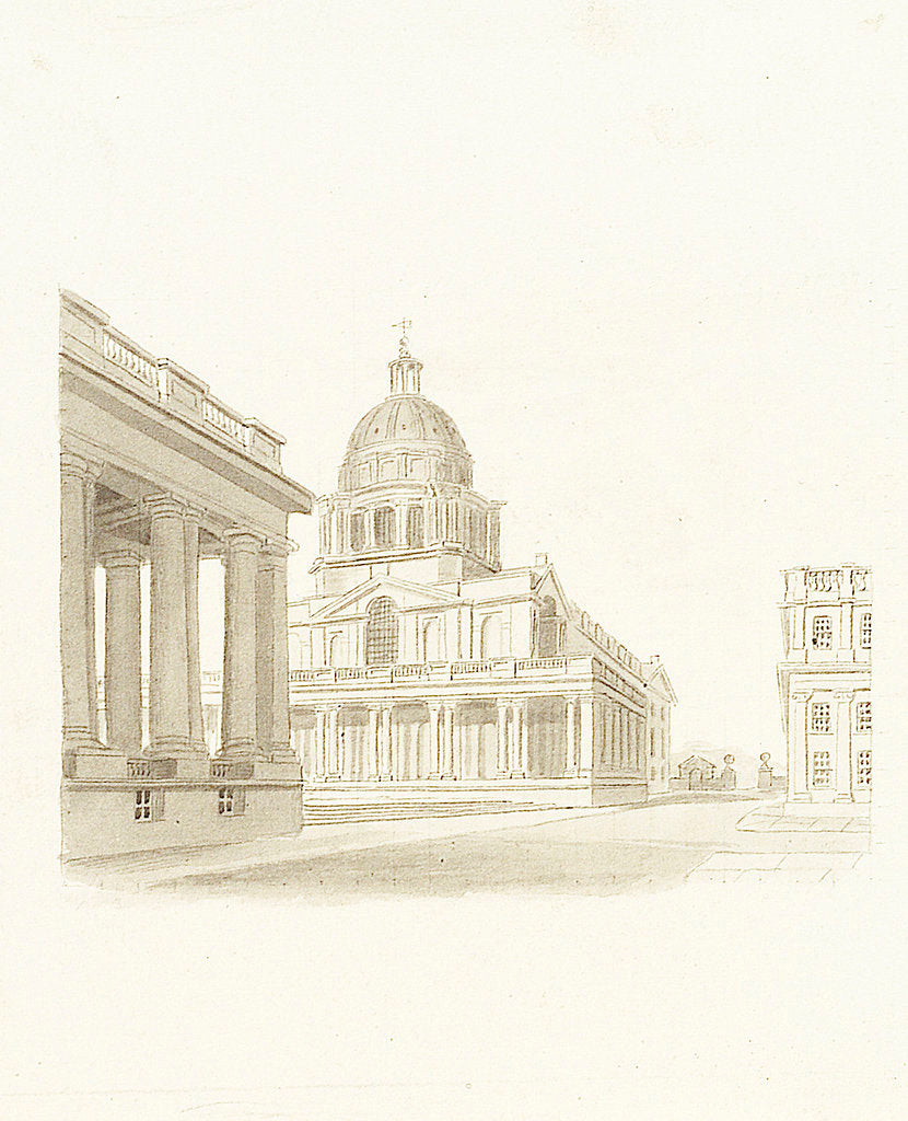 Detail of Greenwich Hospital: the King William dome and Painted Hall (exterior) by unknown