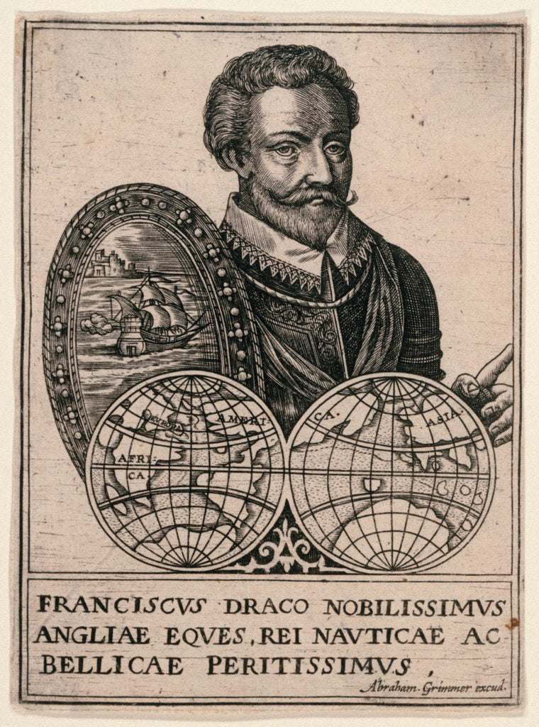 Detail of Sir Francis Drake (1540-1596) by Abraham Grimmer