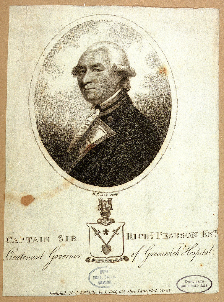 Detail of Captain Sir Richd Pearson Knt. Lieutenant Governor of Greenwich Hospital by Charles Grignion