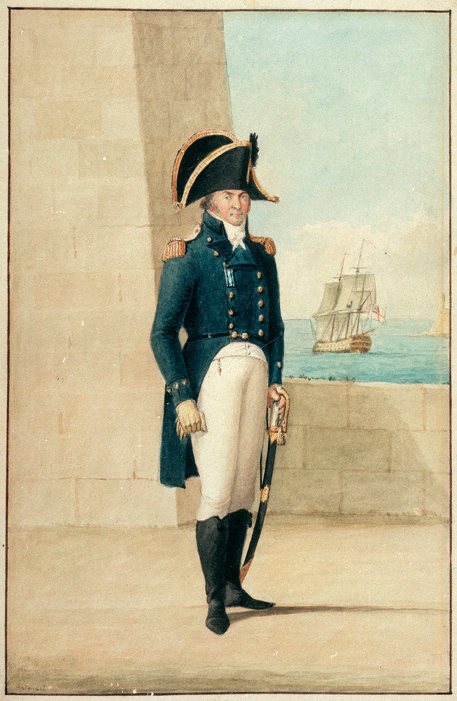 Detail of Captain (Alexander Ball?) wearing the uniform of 1795-1812 by Antonio Grech