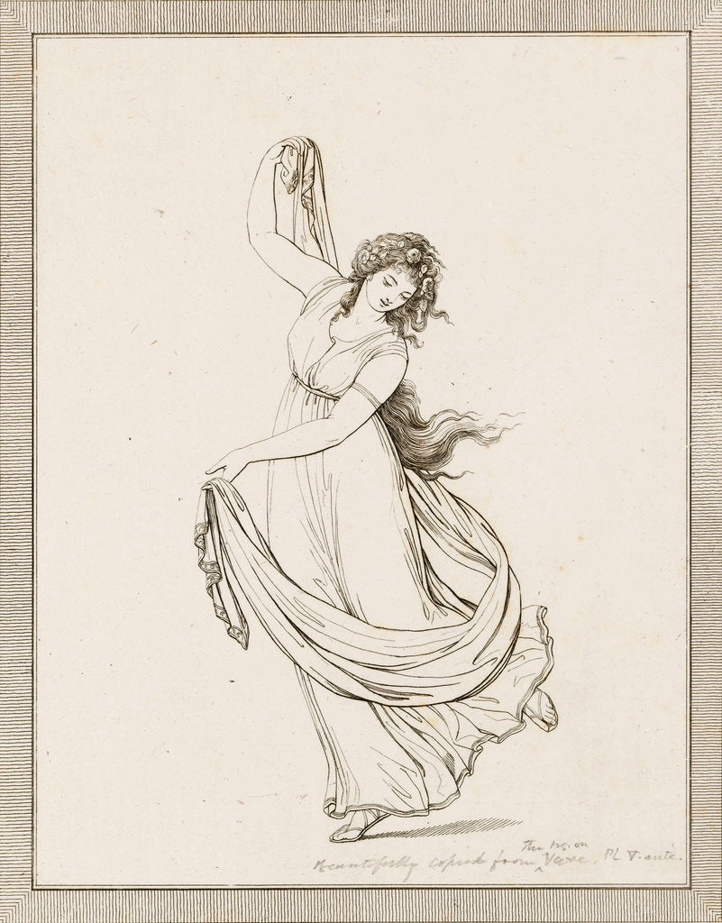 Detail of Emma, Lady Hamilton, in a classical pose, dancing and poised on her right foot by Frederick Rehberg