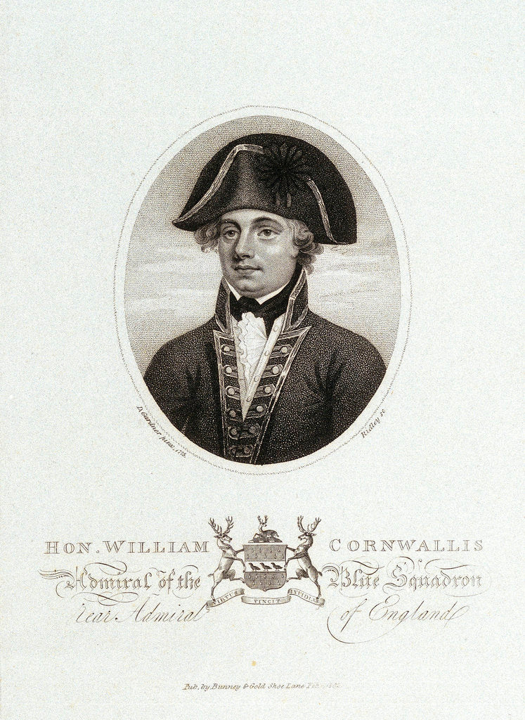 Detail of Hon. William Cornwallis Admiral of the Blue Squadron Rear Admiral of England by Daniel Gardner