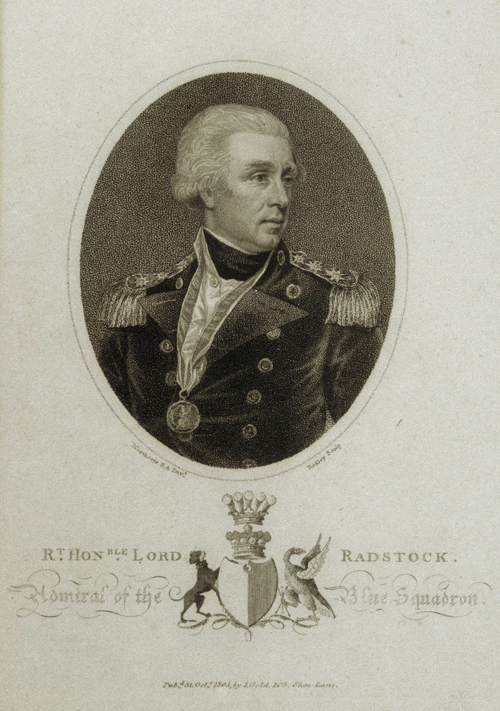 Detail of Rt Honble Lord Radstock. Admiral of the Blue Squadron by James Northcote