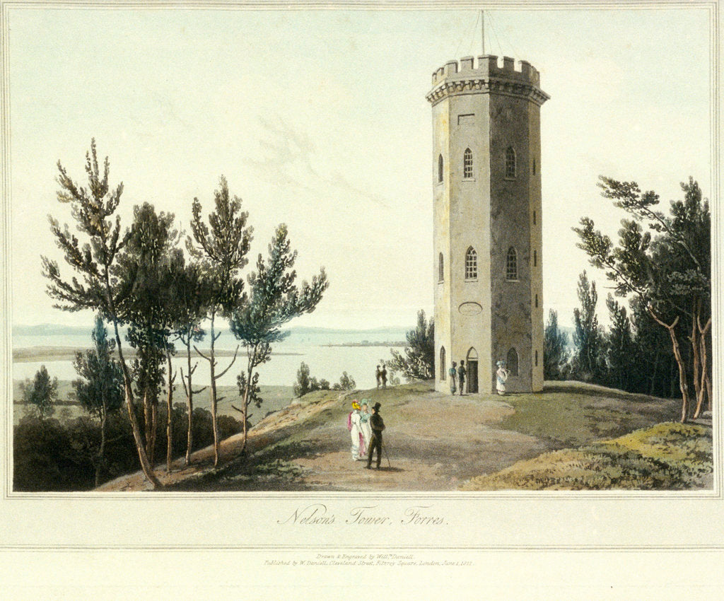 Detail of Nelson's Tower, Forres by William Daniell