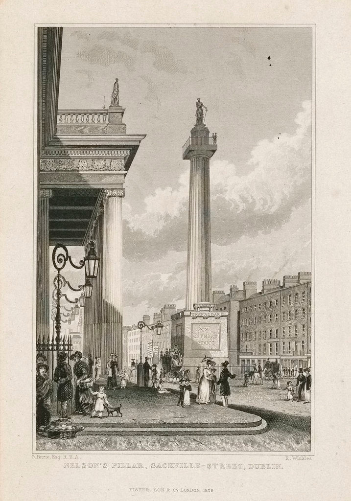 Detail of Nelson's pillar, Sackville Street, Dublin by George Petrie