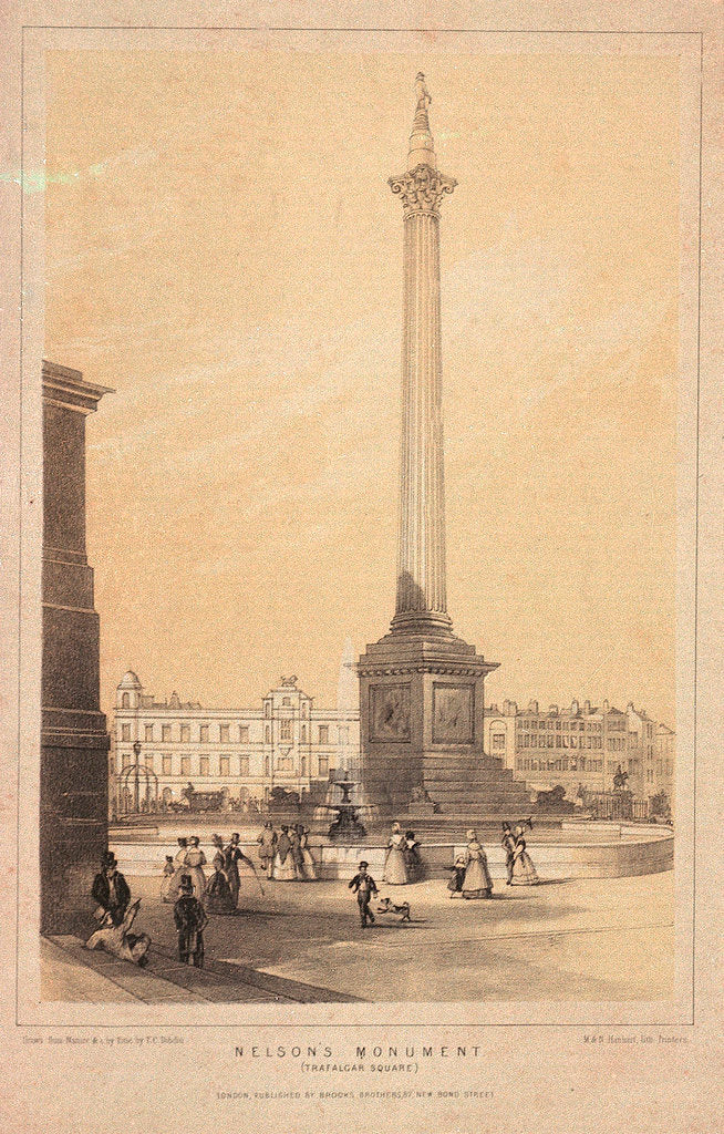 Detail of Lord Nelson's monument in Trafalgar Square by Thomas Coleman Dibdin