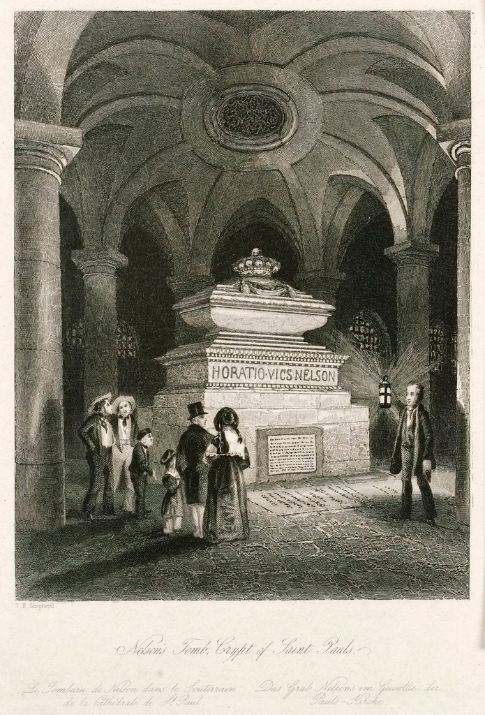 Detail of Nelson's Tomb, Crypt of Saint Pauls by Thomas Hosmer Shepherd