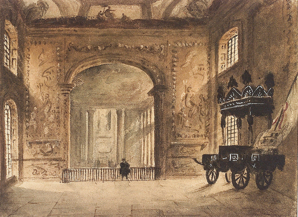 Detail of The Painted Hall Greenwich, from the Upper Hall, showing Nelson's funeral car by unknown
