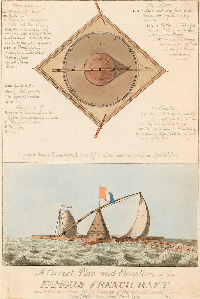 Detail of A Correct Plan and Elevation of the Famous French Raft by British School