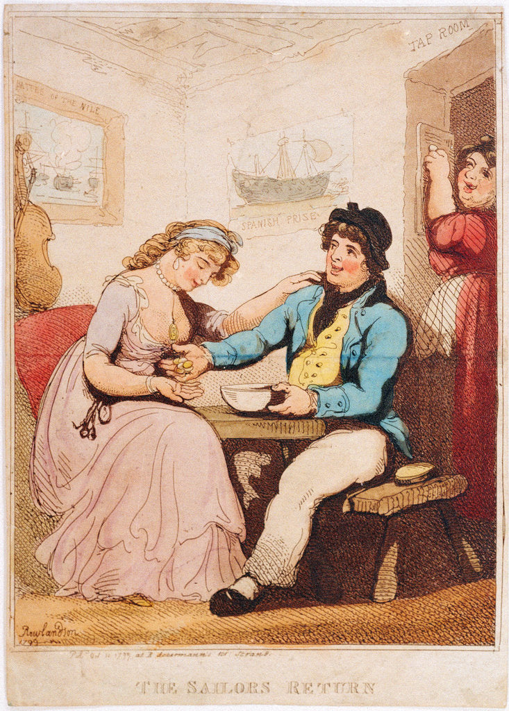 Detail of 'The Sailor's Return' (caricature): money changes hands in a tavern of uncertain morals by Thomas Rowlandson